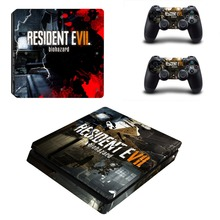 PS4 Slim Console Skin and Two Controllers Sticker Vinyl Decal Kit for Sony Playstation 4 Slim Resident Evil 7 Stickers