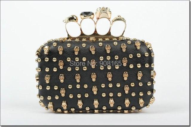 free shipping new arrival punk handbags leather women skulls rivet handbag new products for 2013 clutch evening bag