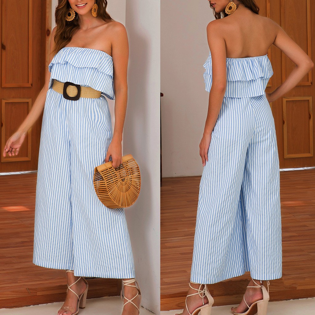 JAYCOSIN Women Ruffled Holiday Trousers Striped Print Jumpsuit Playsuit Beach Romper Summer Dot Print  sexy jumpsuit hot June 24