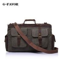 Vintage Style Canvas Leather Travel Bag Briefcase Messenger Bag Shoulder Bag Dufulle Bag 1858