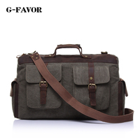 Vintage Style Canvas Leather Travel Bag Briefcase Messenger Bag Shoulder Bag Dufulle Bag 1858