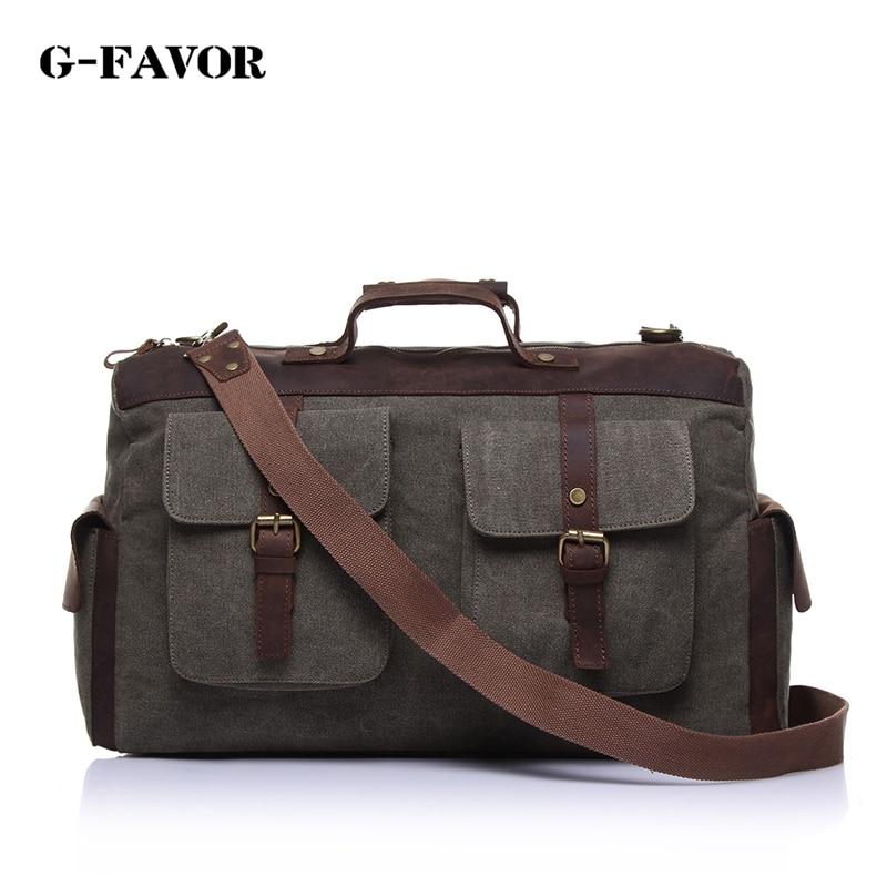 Men's shoulder bags briefcase handbag canvas laptop bags leather messenger bag Vintage Casual Crossbody High capacity travel bag