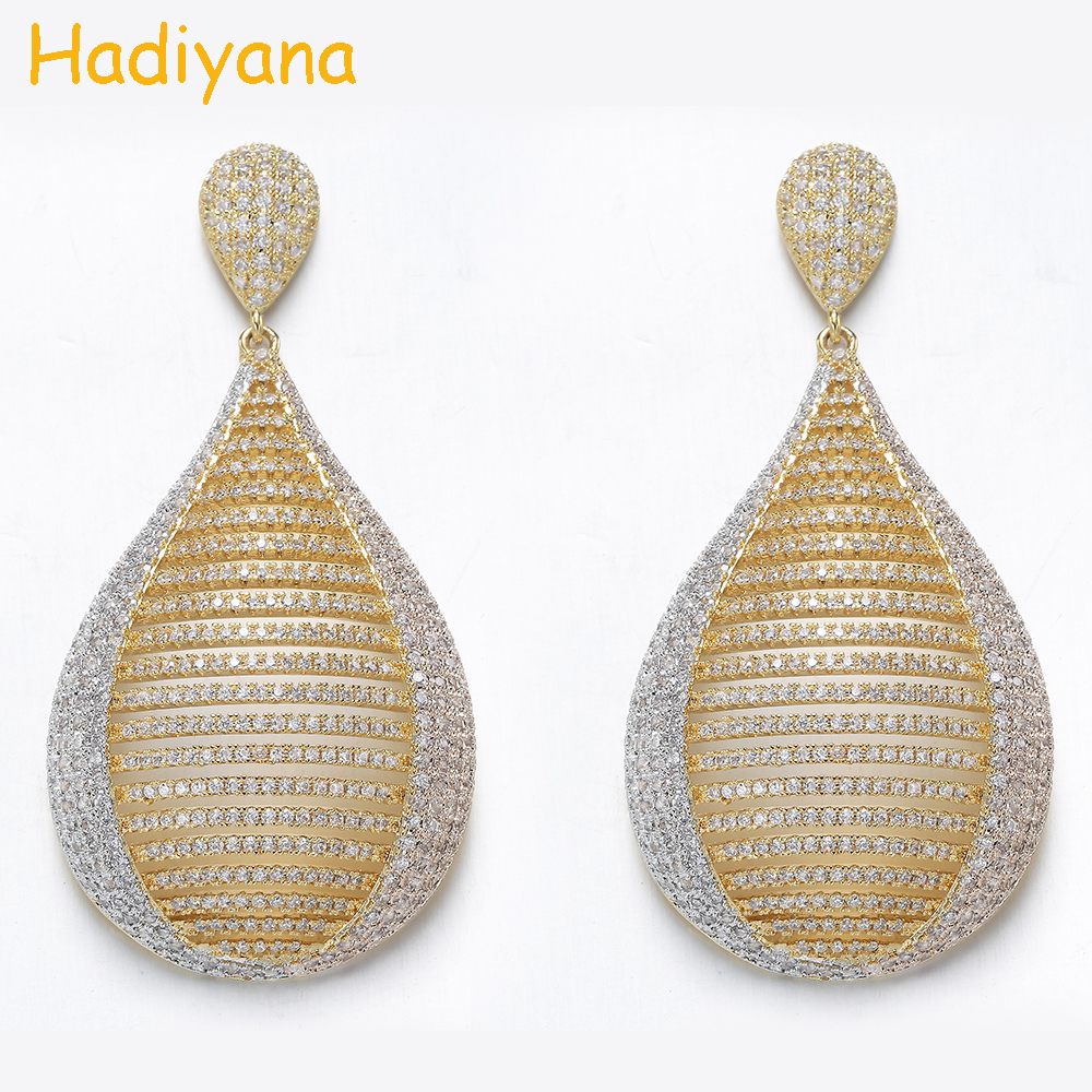 Hadiyana Multi Color Plated Cubic Zircon Accessories Earrings For Woman Fashion Wedding Party Engagement Jewelry Earrings EH916