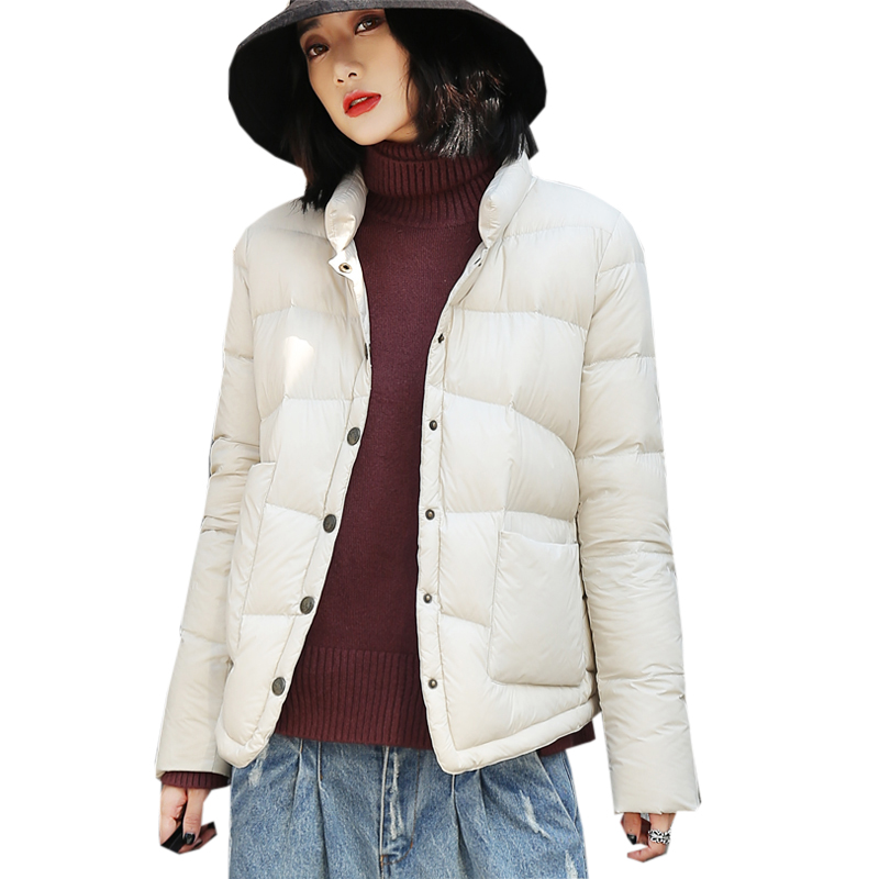 Fashion Stand Collar Women Down Jacket Ultra Light Short White Duck Down Coats Outwears Spring Female Casual Down Jacket YP2068