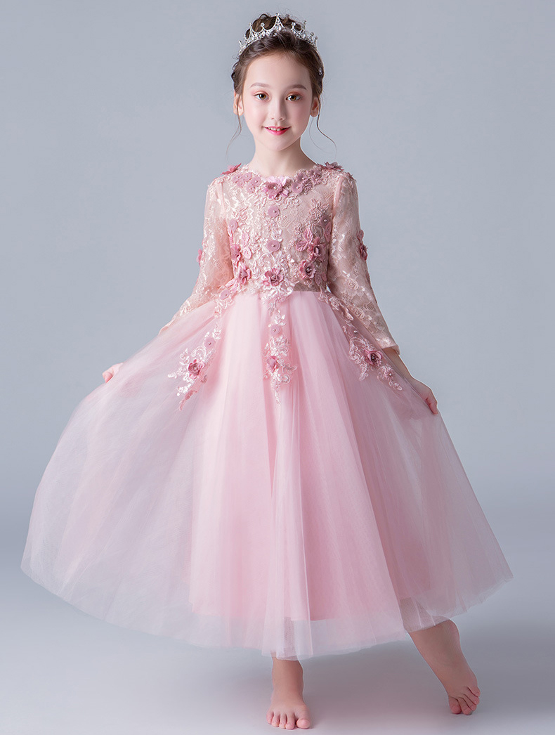 Princess wedding dress for girls birthday party lace Spring dress Children's Autumn flower lace dress Kids clothes[Yelaumoky] see thru mini lace dress