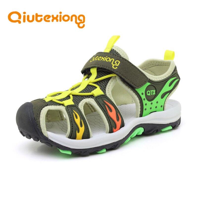 QIUTEXIONG Летние Мальчики Сандалии кожаные ботинки для детей пляжные сандалии с закрытым носком Обувь с дышащей сеткой детская обувь sandalia infantil ...