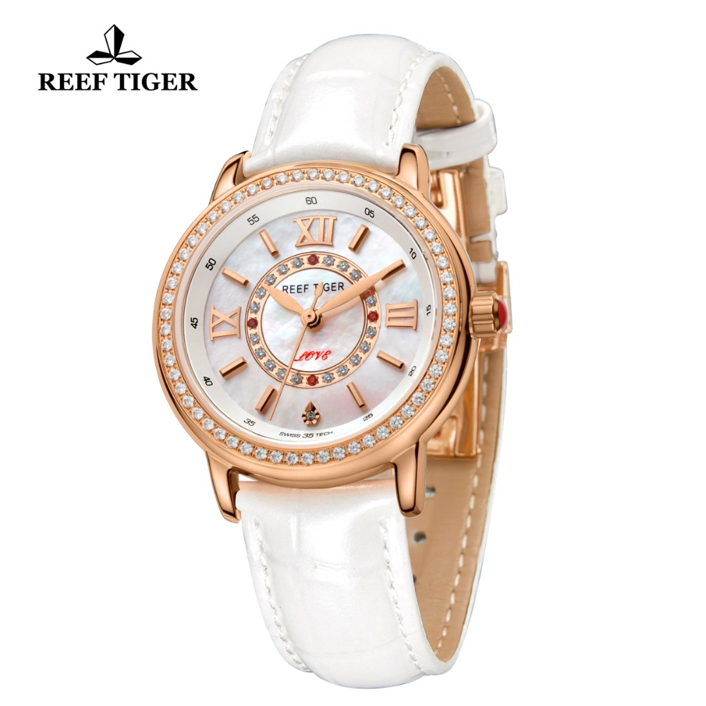 Reef Tiger/RT Women Fashion Watches Diamond Rose Gold Leather Strap Luxury Quartz Watches for Ladies Reloj Mujer RGA1563