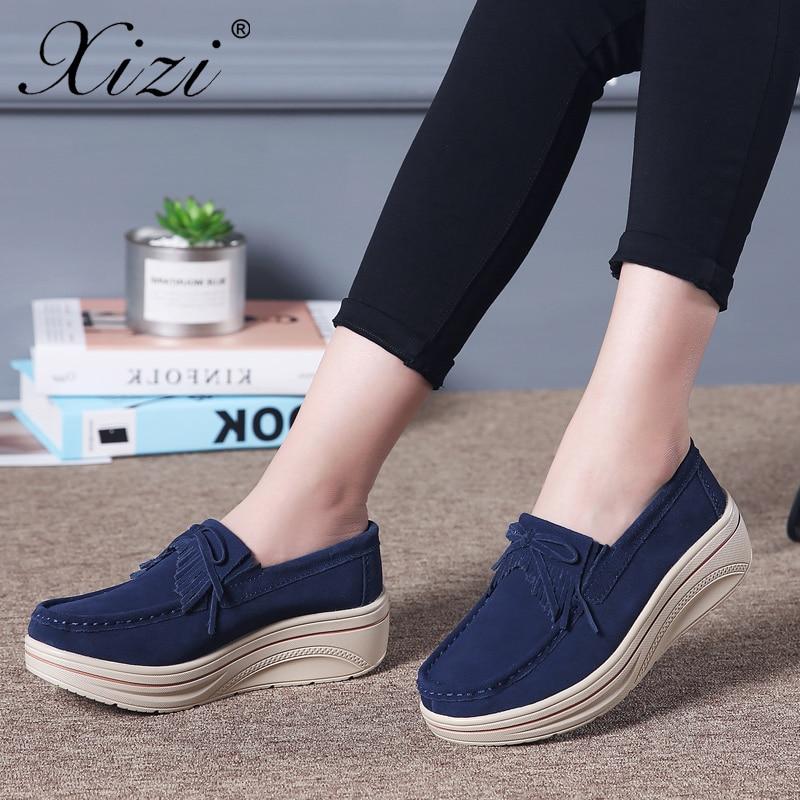 Xizi Sneakers Women Flats Women Tassel Platform Shoes Ladies   Leather     Suede   loafers Casual Shoes Slip on Flats Creepers Footwear