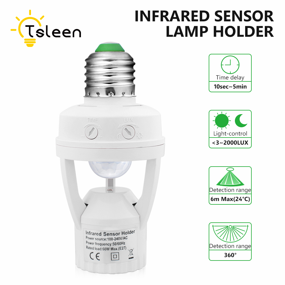 PIR Infrared Motion Sensor E27 Led Light Lamp Base Holder Bulb Socket 360 Degrees with Day & Night 2 Modes Bulb Socket Adapter