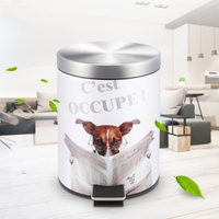 ANHO Creative Stainless Steel Dustbin 3D Cartoon Printing Pedal Bins European Style Trash Can Cute Dog