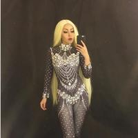 Sparkly Crystals Female Costume Jumpsuit Rhinestone Dance Outfit Nightclub Women Singer Bodysuit Stage Performance Costume