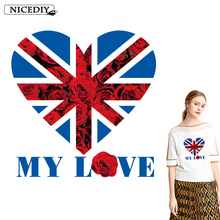 Nicediy Flag Heart Patch Thermal Transfer Printed Iron on Heat Transfer On Clothes DIY Sticker Accessory Washable Applique Badge цена