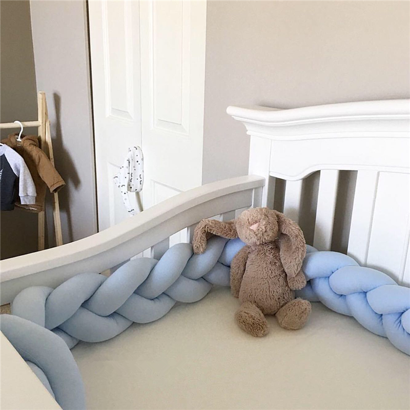2M/3M  Knot Baby Bed Bumper Weaving Plush Infant Crib Cushion Baby Crib Protector Nursery Bed Bumper Room Decor