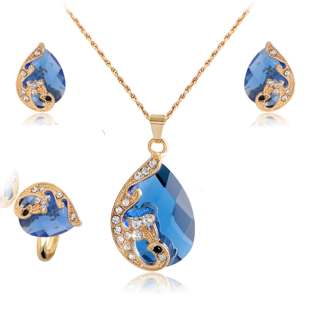 Jewelry Sets For Women Summer Style African Beads Wedding Accessories  Bridal Imitated Crystal Costume Necklace Earrings 2017