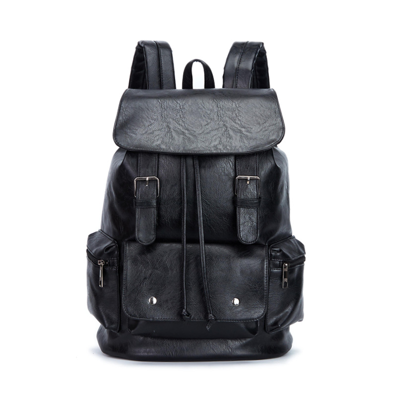 New Large Capacity Men Black Backpack Waterproof Daypack Fashion PU Leather Travel Totes Casual School Bag Pack Laptop Bookbag