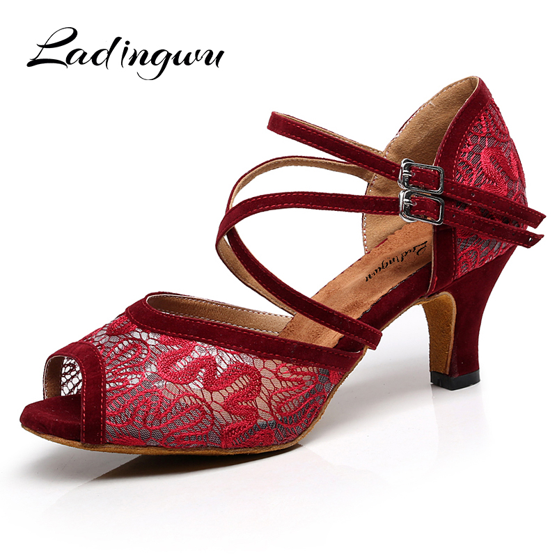 Ladingwu Lace Latin Dance Shoes For Woman Ballroom Dancing Shoes For Women Salsa Performance Dance Shoes For Red Black BrownLadingwu Lace Latin Dance Shoes For Woman Ballroom Dancing Shoes For Women Salsa Performance Dance Shoes For Red Black Brown
