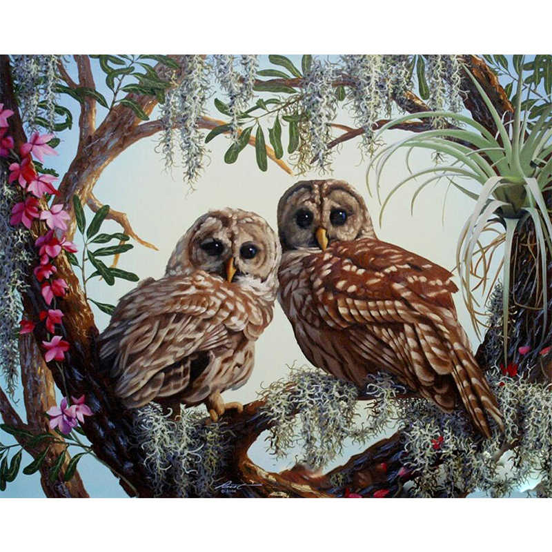 Two owls Animal DIY Digital Painting By Numbers Modern Wall Art Canvas Painting Christmas Unique Gift Home Decor 40x50cm