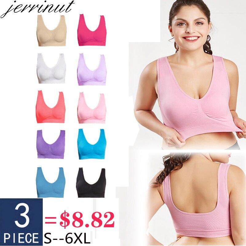 Jerrinut 3 шт. сексуальные бюстгальтеры для женщин отжимать Bralette плюс размер бюстгальтер спортивный сон активный бесшовный бюстгальтер хлопок удобный 5XL 6XL BH