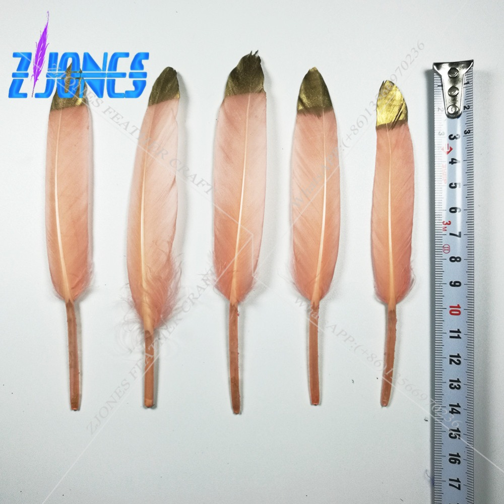 New Hot Sale 100Pcs/pack Beautiful Gold/Champagne Goose Feather 4-6 Inches 10-15 cm Pretty Feather DIY Ornaments Goose Feathers