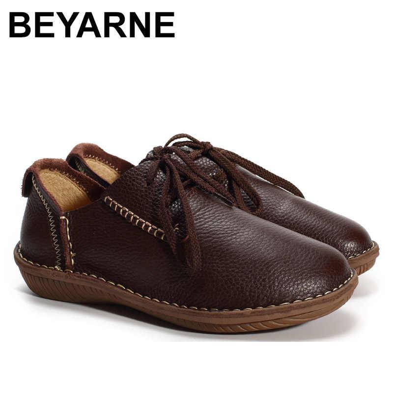 BEYARNE chaussures plates en cuir véritable fait à la main dames chaussures plates noir/marron/café décontracté chaussures plates à lacets femme mocassins