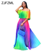 Rainbow Gradient Summer Chiffon Dress Women Slash Neck Short Sleeve Boho Pleated Dress Sexy Off Shoulder Backless Beach Vestidos