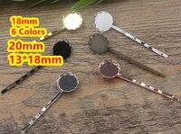 Cabochon 18mm, 20mm, 13*18mm Spitze pad Fach Haarspangen Antike Bronze/Gold/silber/Schwarz Haar Bobby Pin clip, Vintage-Schmuck 100 stück