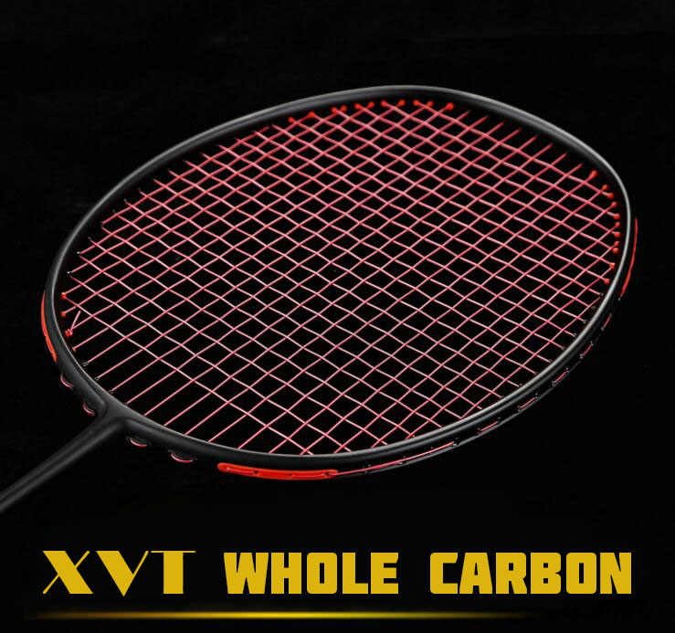 XVT Professional Black Carbon/ Whole Carbon Badminton Racket With String Free Grip  4 colors Free Shipping
