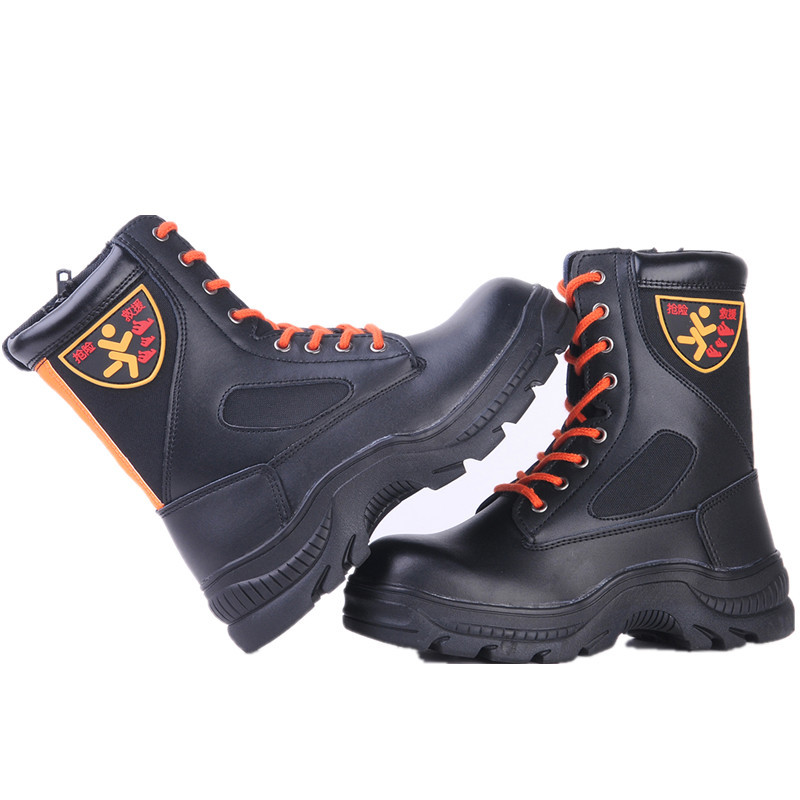 Cowhide Steel Baotou Anti Smash Piercing Fire Waterproof Safety Shoes Protective Boots Men's Shoes