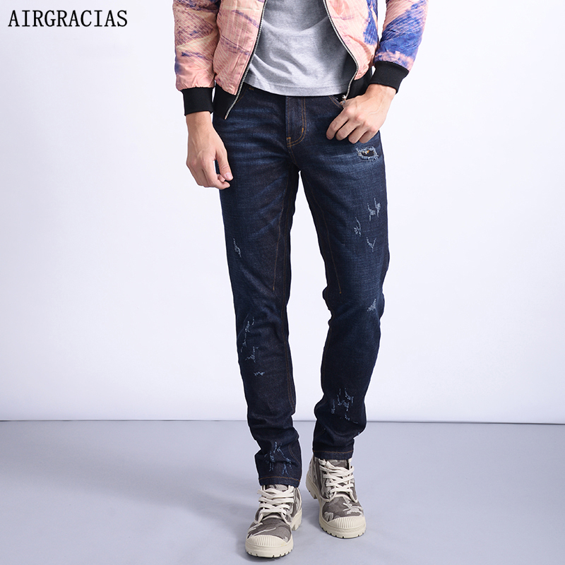 AIRGRACIAS Mens Jeans Classis Slim Fit Denim Ripped Jeans Men Plus Size 28-38 Men Long Pants Trousers Brand Biker Jean 2017 fashion patch jeans men slim straight denim jeans ripped trousers new famous brand biker jeans logo mens zipper jeans 604