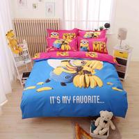 XINLANISNOW 3d Cartoon Banana Minions Bedding Set Twin Full Queen Size Despicable Me Bed Linen for Kid Gift Duvet Cover Bed Shee