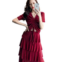 2 Colors Chic Glitter Elegant Party Summer Two Piece Set Women Slim Drawstring Sexy Crop Top and Multi layer Skirt Sets