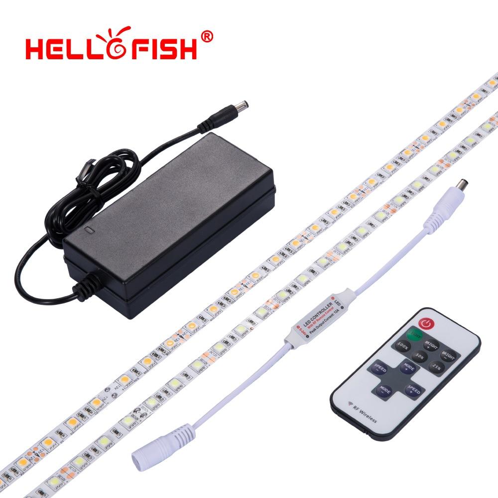5M High brightness 5050 led strip non waterproof 12V flexible light stripe 60LED tape 11 17key RGB RF controller set Hello Fish