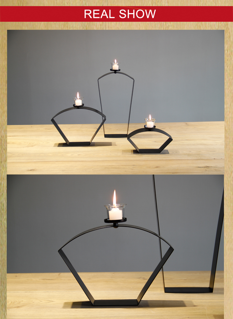 Chinese Style Sector Black Metal Tabletop Simple Candle Holder Iron ...