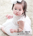 Free shipping 2016 new arrival baby girls dress clothing summer cotton clothes baby white Infant Princess dress  45
