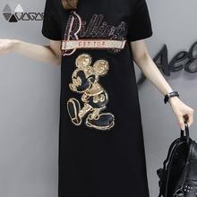 цена на Women Summer Dress   Print Fashion Loose Short Sleeve Plus Size Female High Quality Midi Dresses