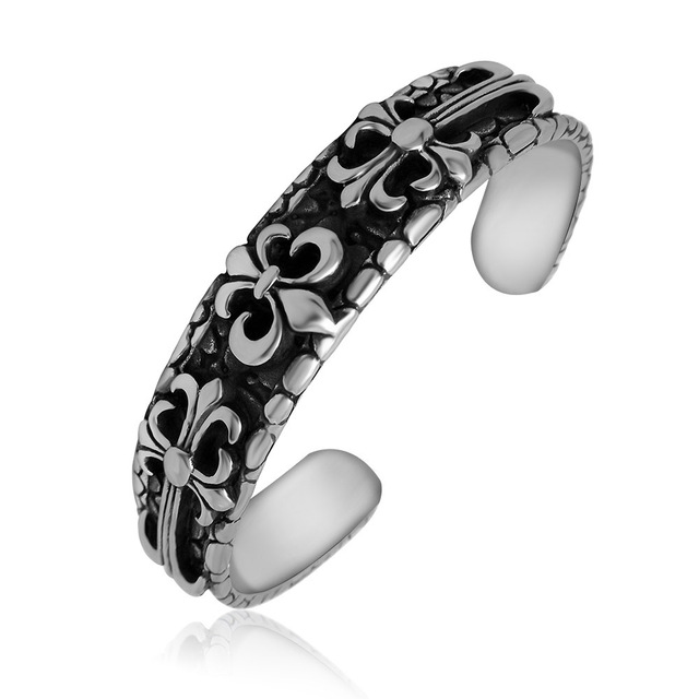 Bijoux Fashion Vintage GethicTitanium Steel Scout Flower Cross Open Bangles For Men Birthday Gifts Jewelry