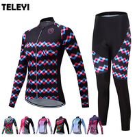 TELEYI Women's Team Pro Cycling Sports Clothing Set Ropa Ciclismo Bike Bicycle Comfortable Clothes Long Sleeve Jersey Pants Suit
