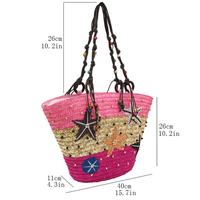 REREKAXI New Straw Bag Fashion Women Shoulder Bags Large Capacity Beach Bag Wheat Pole Weave Handbag Starfish Ladies Tote 2