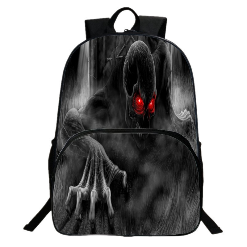 2017 New Style Oxford 16 inches Black Printing Cartoon Skull Children Backpack for Tennagers Boys School