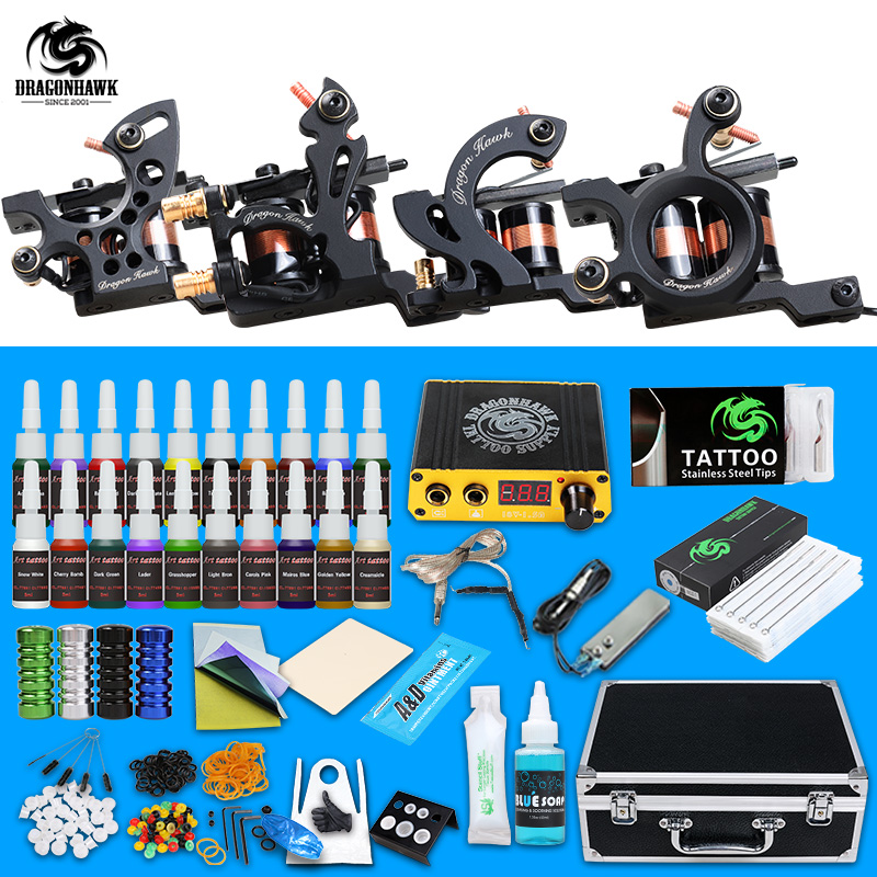 Professional Tattoo Kit Machine Guns Inks Sets Steel Grips Tips With Disposable Needles Tattoo Power Box