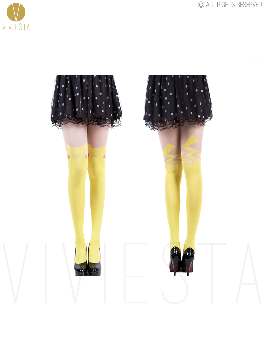 cute pikachu colored tattoo tights 60d women girls halloween party