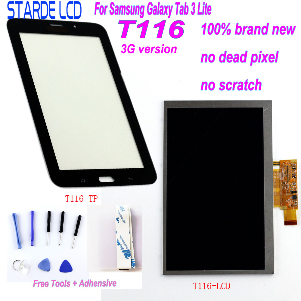 Starde LCD For Samsung Galaxy Tab 3 Lite T116 SM-T116 3G Version LCD Display Touch Screen Digitizer Sense With Free Tools