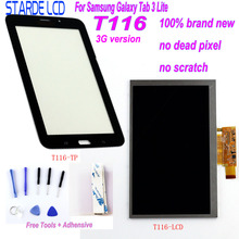 Starde LCD for Samsung Galaxy Tab 3 Lite T116 SM-T116 3G Version LCD Display Touch Screen Digitizer Sense with Free Tools lcd display screen touch digitizer for lg g tablet pad 8 3 v500 wifi version or 3g version white or black free shipping