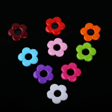 60pcs/lot Candy color Acrylic Plastic Flower Beads Two Hole Beads Jewelry Making Necklace Bracelets