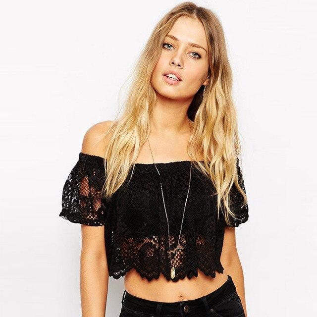 summer women off shoulder strapless short sleeve floral crochet lace blouse female black crop top casual flower shirt 343