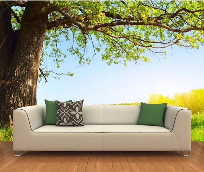 3d wallpaper custom mural non-woven wall sticker 3d The grass under the big tree painting photo 3d wall murals wallpaper under the greenwood tree
