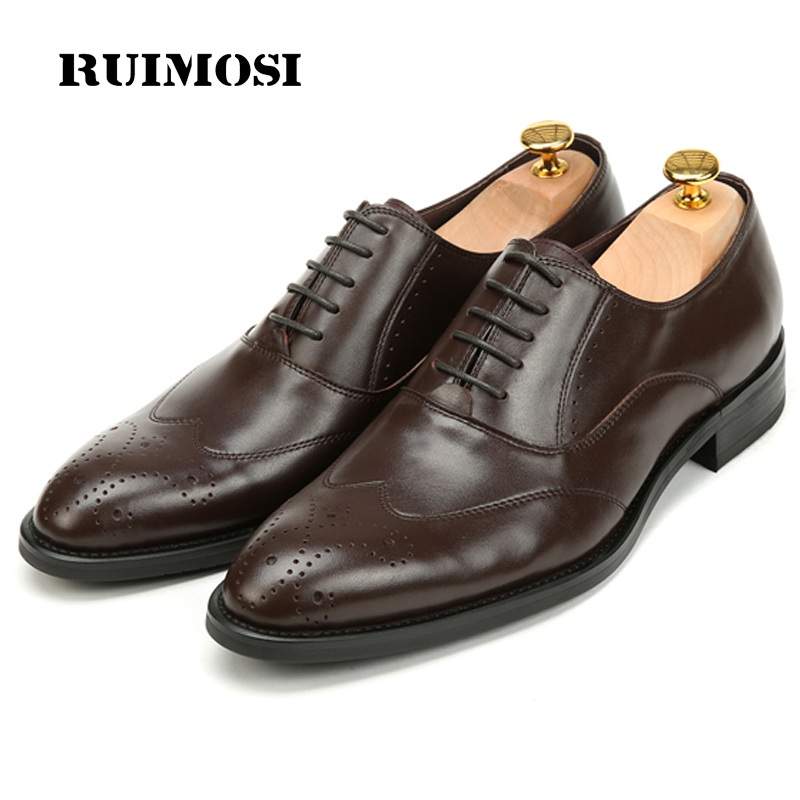 RUIMOSI Top Quality Man Wing Tip Brogue Dress Shoes Genuine Leather Wedding Oxfords Round Toe Formal Luxury Men's Flats BH71