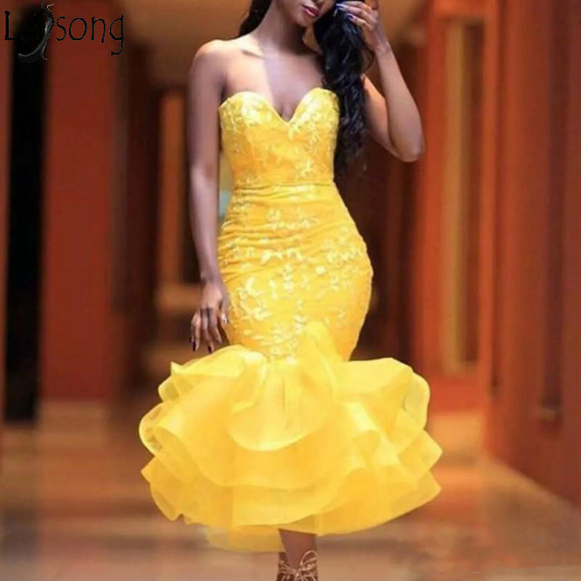 bcd71425d9 Yellow Tea Length Mermaid Prom Dresses Sweetheart Lace Appliques Tiered  Skirt Chic Cocktail Dress Girls Formal Dress Party Gowns