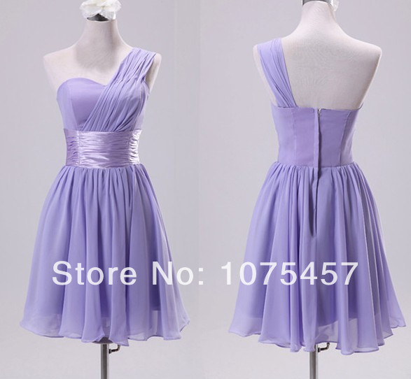 2014 New Free Shipping ! Real Picture Chiffon Bridesmaid Dress Short One Shoudler Rainbow Colored Wedding Party Gowns JR15