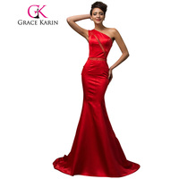 Stunning Evening Gown One Shoulder Satin Long Red Evening Dresses Elegant Asymmetrical Formal Gown With Beadings